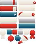Design set of shiny, metallic blue, creamy white, red, silver: interface icons, Web buttons, stickers, labels, ribbons. OPTIONAL arrows, corner & edge ribbons. Mix, match. Copy space.