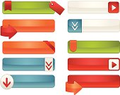 Shiny, metallic blue, creamy white, red, orange, green: interface icons, Web buttons, sale tags, labels, stickers, arrows. ***OPTIONAL tags, arrows, stickers, drop shadows.*** Mix, match. Copy space.