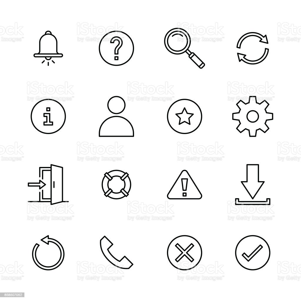 Interface icons - Line vector art illustration