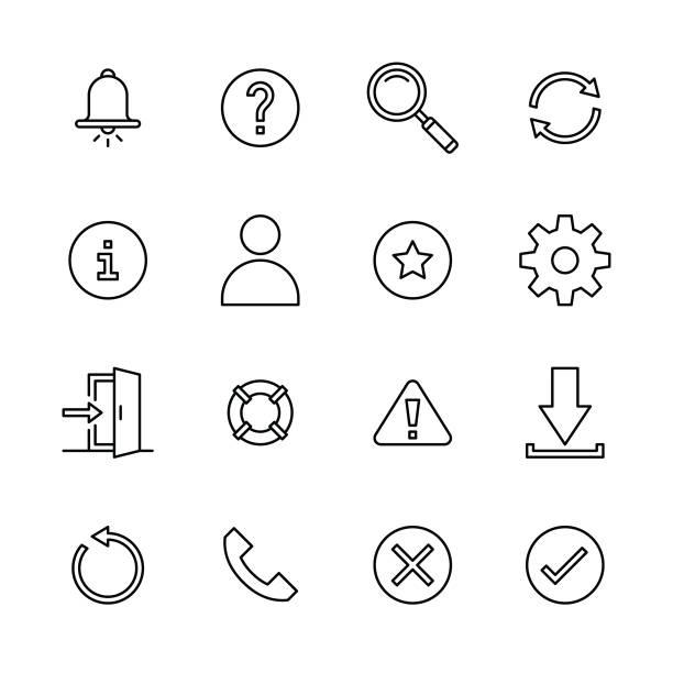 Interface icons - Line vector art illustration