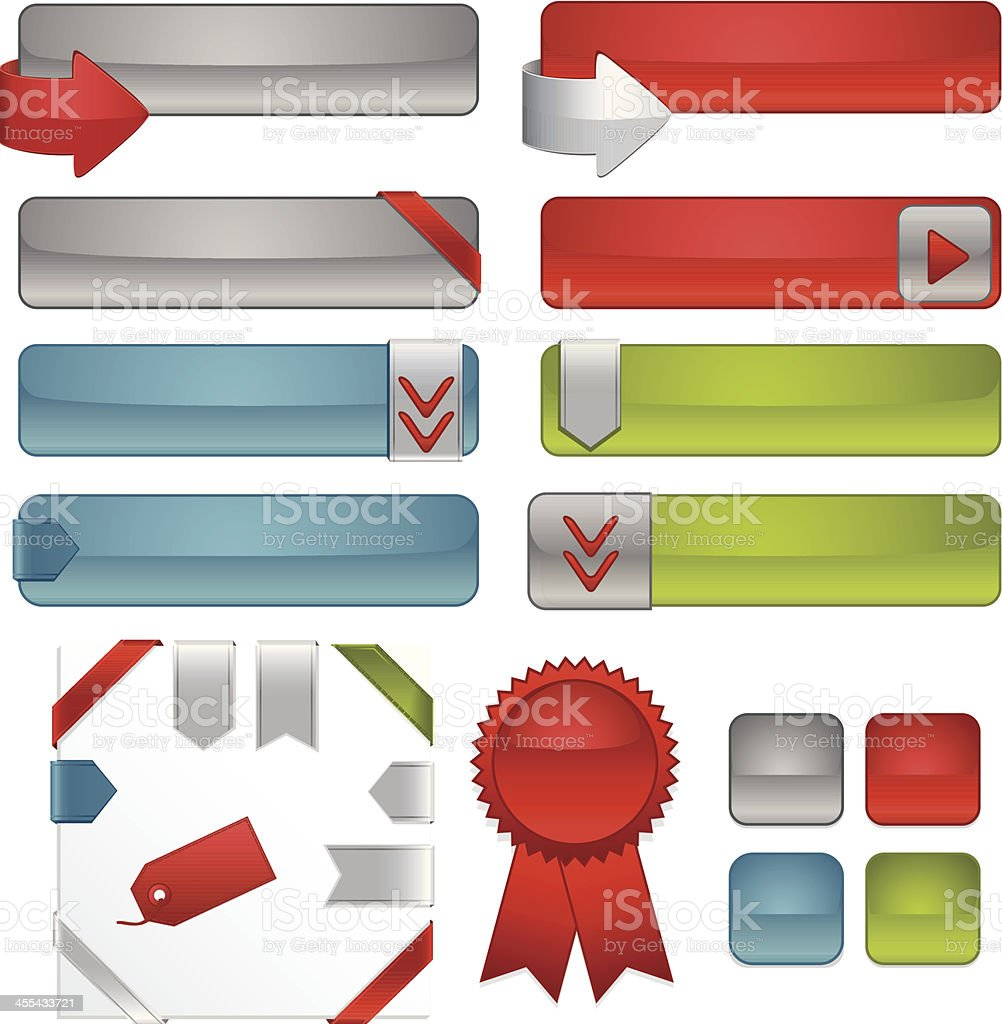 Interface Icons, Ribbons, Stickers Set in Silver, Red, Blue, Green royalty-free stock vector art