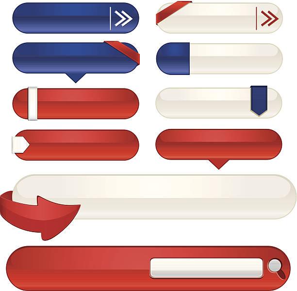 schnittstelle symbole, aufkleber, banner-set: patriotische rot, weiß und blau - abgeordnetenhaus stock-grafiken, -clipart, -cartoons und -symbole
