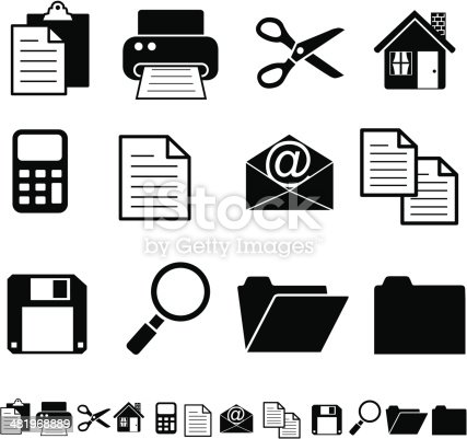 Vector software interface icons in black and white: