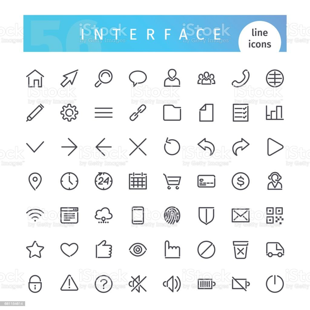 Interface ligne Icons Set - Illustration vectorielle