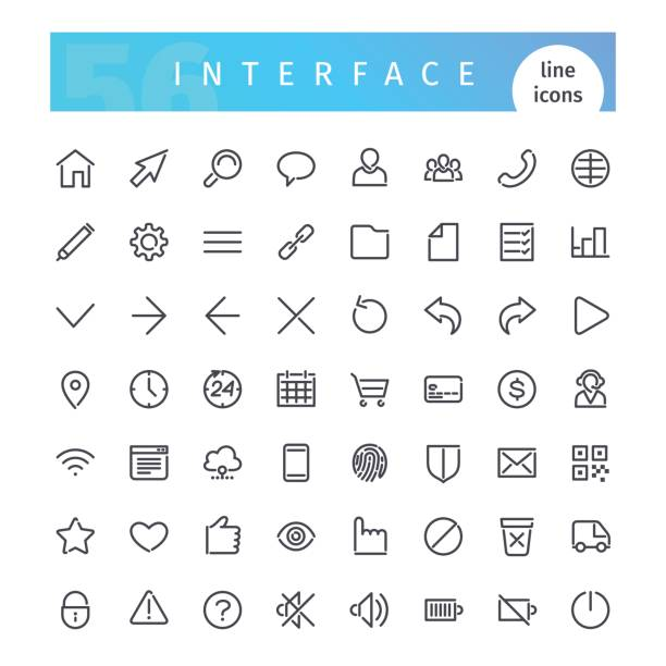 Interface Line Icons Set vector art illustration