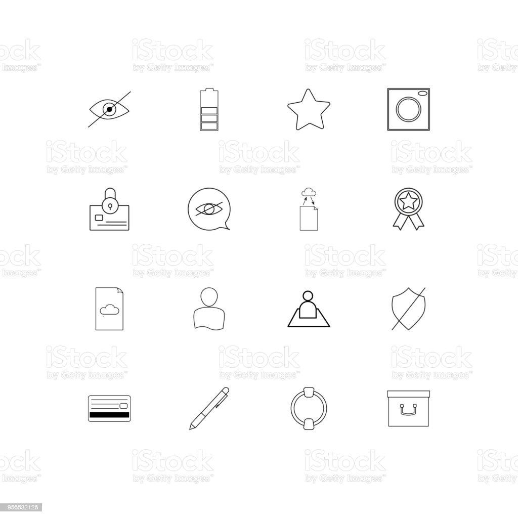 Lineare dünne Icons Set-Schnittstelle. Beschriebenen einfachen Vektor-icons - Lizenzfrei Akte Vektorgrafik