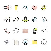 Interface pack - outline color vector icons