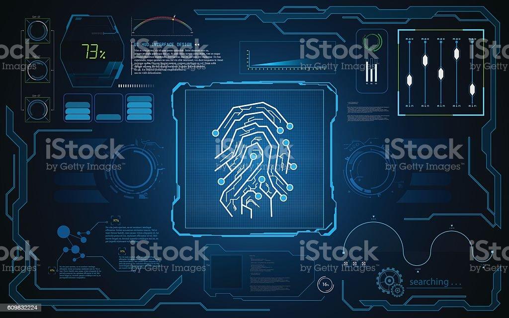 UI HUD interface screen security tech innovative concept background template vector art illustration