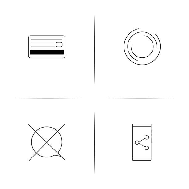 Interface simple linear icons set. Outlined vector icons vector art illustration