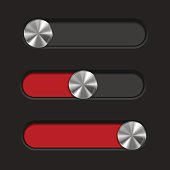 Interface slider. Red bar with round metal button