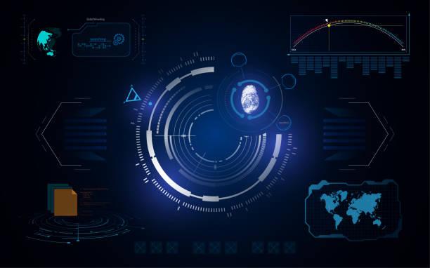HUD UI Schnittstelle Tech digitale Konzept Sicherheitsvorlage – Vektorgrafik