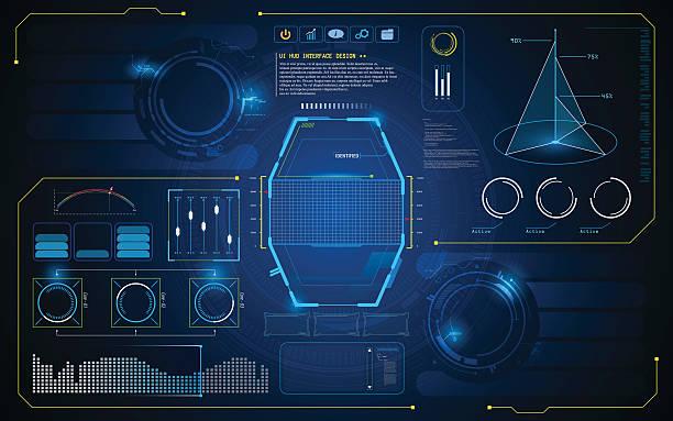 illustrations, cliparts, dessins animés et icônes de hud interface ui future virtual artificial intelligence innovation design template - infographies médicales