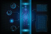 HUD interface virtual human body polygonal hologram future system health innovation and technology concept background, vector illustration.