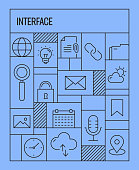 Interface Web Icons Concept. Geometric Retro Style Banner and Poster Concept with Interface Web Line Icons