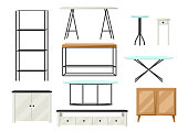 Interior and furniture set. Shelving with shelves, cupboards and tables