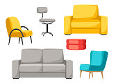 Interior and furniture set. Sofa armchair and pouf
