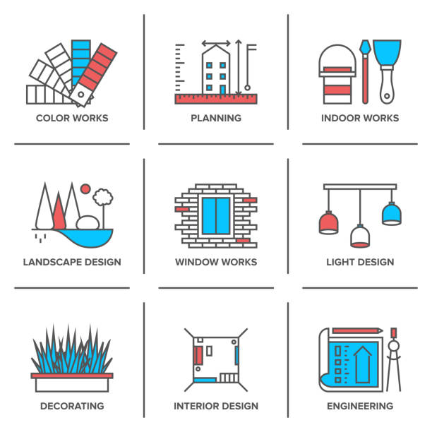 stockillustraties, clipart, cartoons en iconen met interieur en landschap lijn pictogrammen ontwerpset - interior design