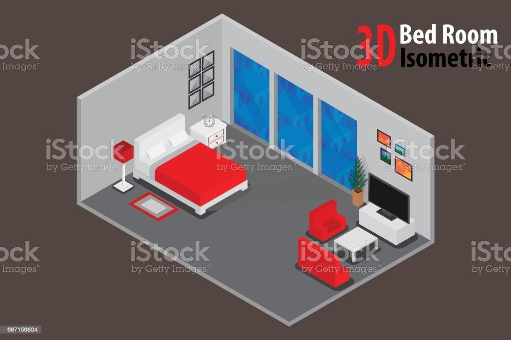 침실 거실 및 부엌 방 인테리어 아파트 3d Isometricvector 및 ...