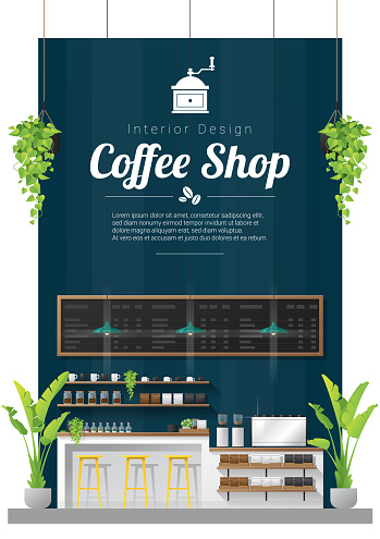Interior background , modern coffee shop counter bar scene , vector , illustration