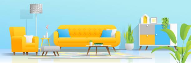 インテリアの背景に居心地の良いカラフルなリビング ルーム, ベクトル, イラスト - リビング点のイラスト素材/クリップアート素材/マンガ素材/アイコン素材