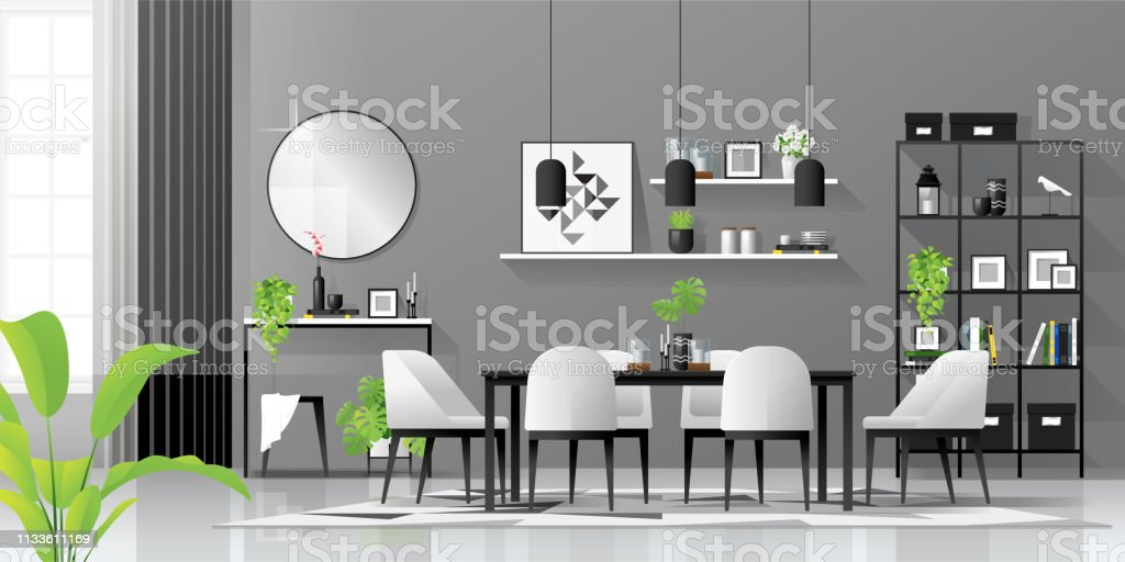 Eetkamer Zwart Wit.Interior Background With Dining Room In Modern Black And White