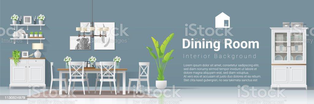 Ilustración de Fondo Interior Con Comedor En Estilo Rústico Moderno ...