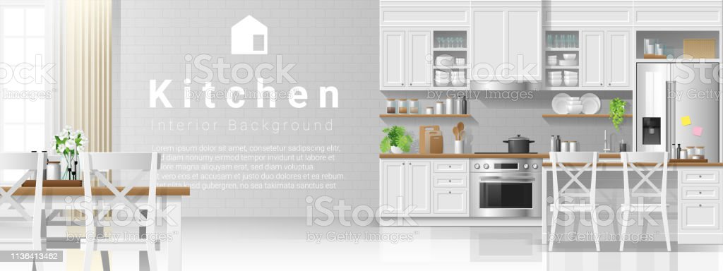 Interior background with kitchen in modern rustic style , vector , illustration Interior background with kitchen in modern rustic style , vector , illustration Apartment stock vector