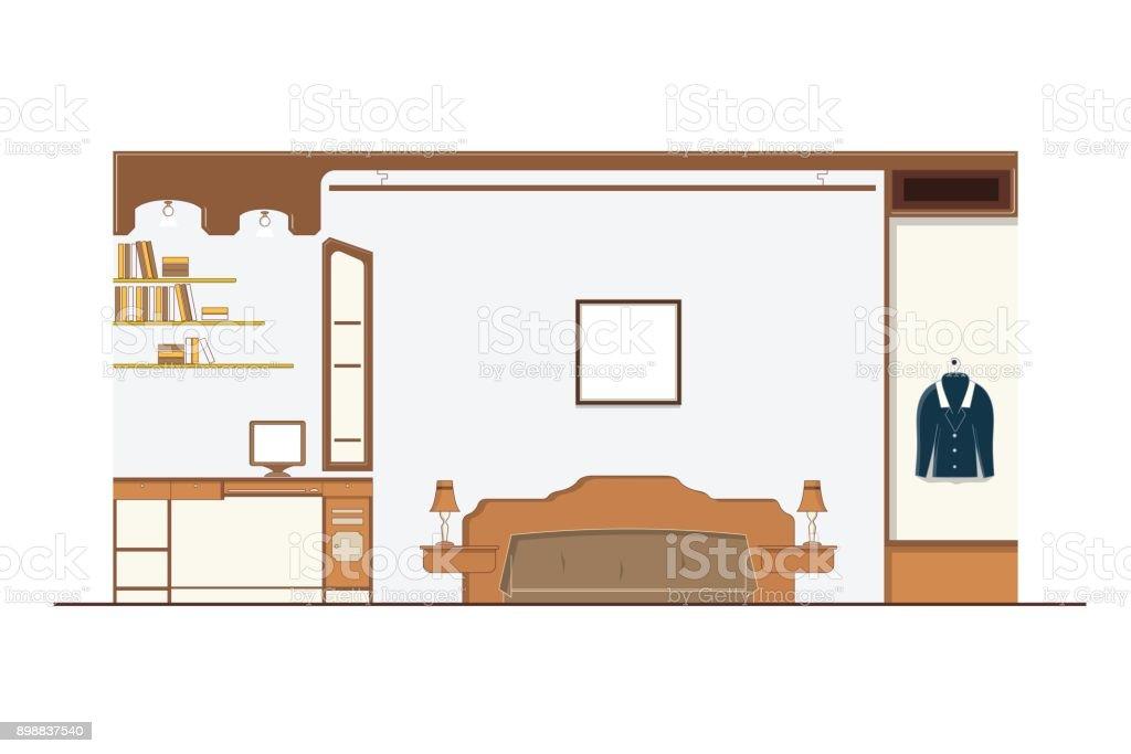 Design Dinterieur Chambre A Coucher Avec Meubles Lit Armoire Bureau