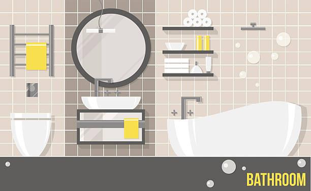 interior beige modern bathroom - spiegelfliesen stock-grafiken, -clipart, -cartoons und -symbole