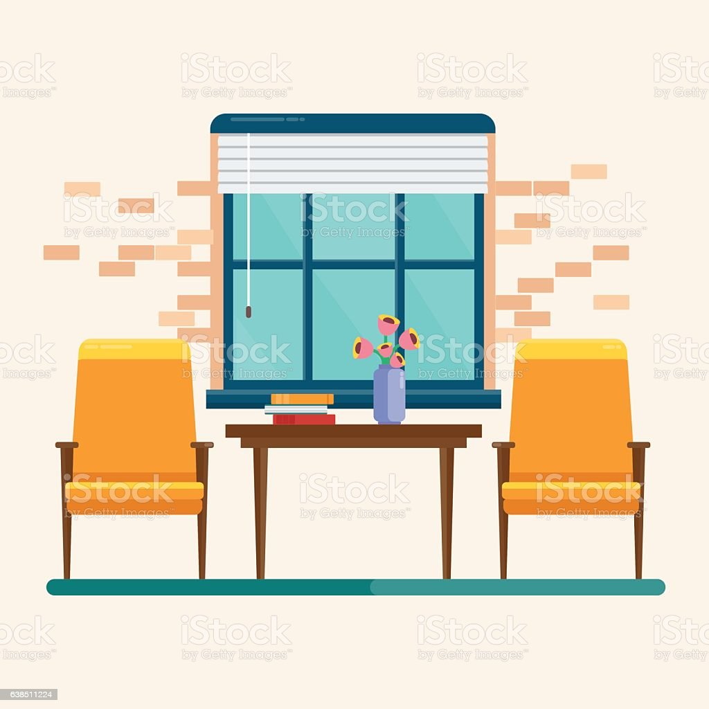interior blue window vector art illustration