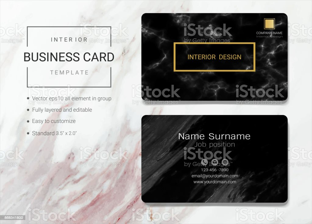 Interior business card or name card template simple style also interior business card or name card template simple style also modern and elegant with marbling reheart Choice Image