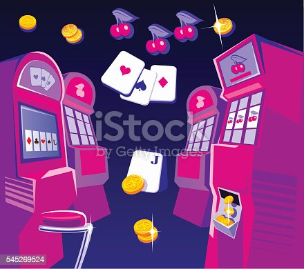 istock Interior casino - slot machines, chairs. Gold coins  playing-cards fly. 545269524