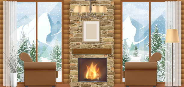 interior chalet with mountain view - log cabin stock illustrations, clip art, cartoons, & icons
