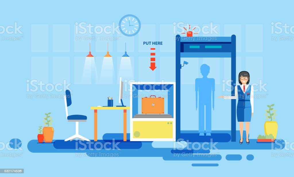 interior, check luggage, inspection at airport, port detector for flights vector art illustration