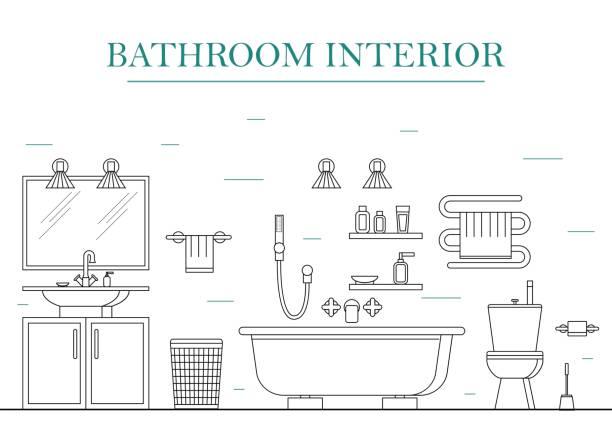 inneren klassische badezimmer mit möbeln. vektor - spiegelfliesen stock-grafiken, -clipart, -cartoons und -symbole