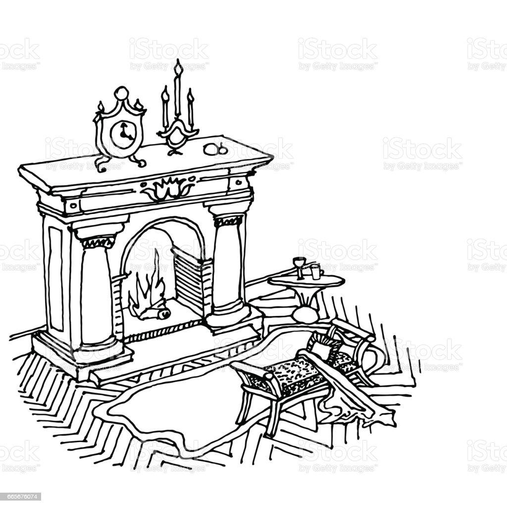 interior classic fireplace - ilustração de arte vetorial