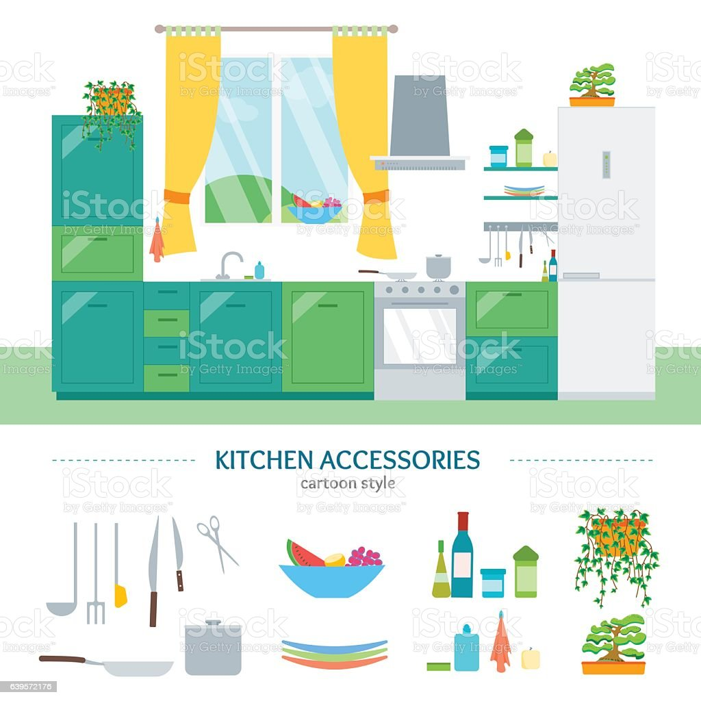 Interior Classic Kitchen With Furniture And Elements Set Vector ...