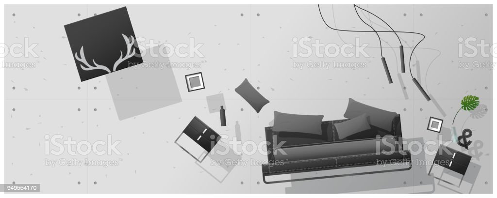 Interior Concept Background With Furniture Hovering Into New Bedroom