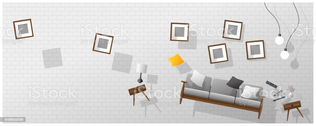 casa de campo muebles de sala Ilustracin De Antecedentes Del Concepto Interior Con