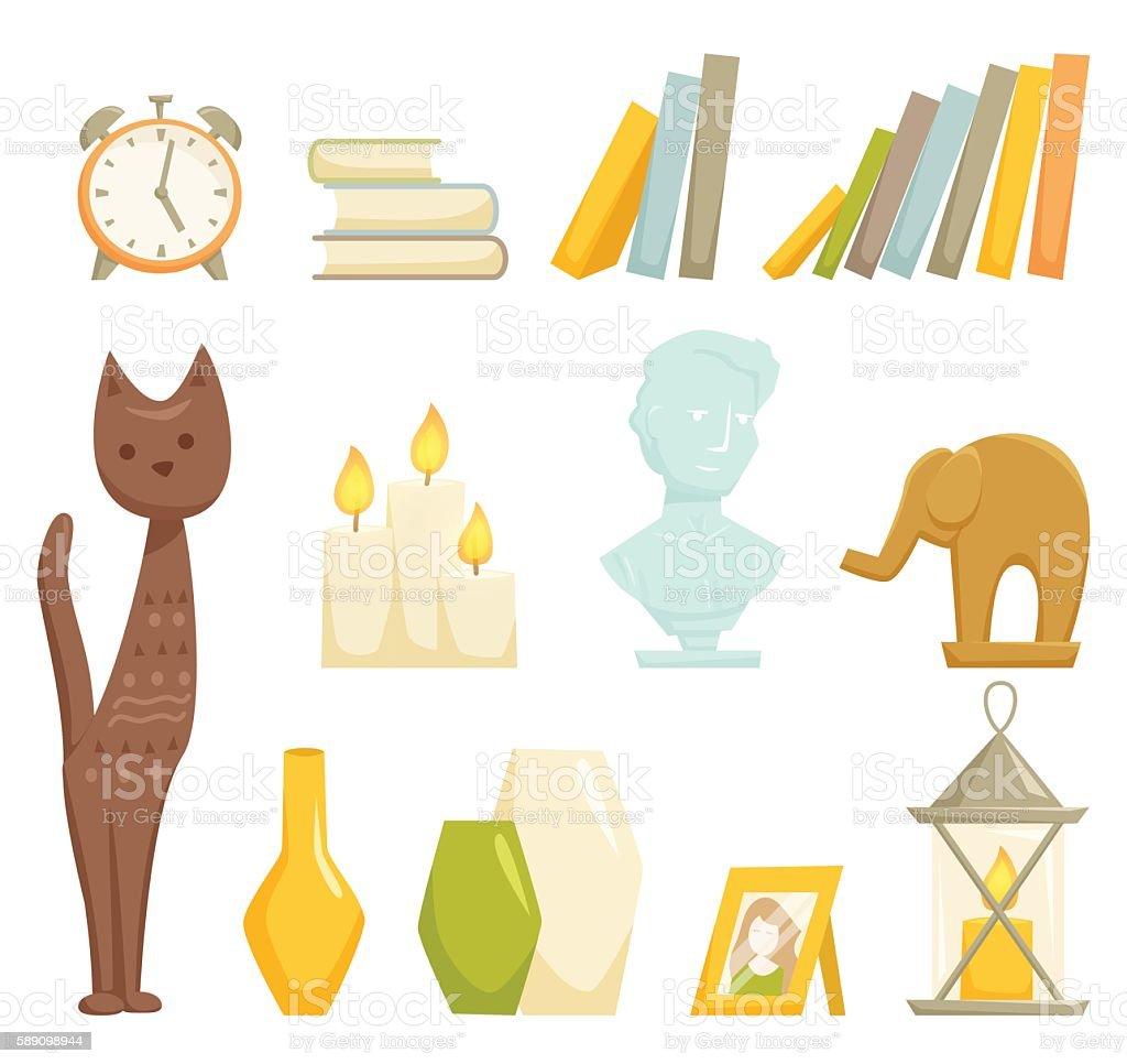 Interior decoration elements vector art illustration