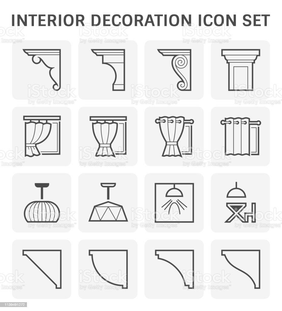 ícone da decoração interior - ilustração de arte em vetor