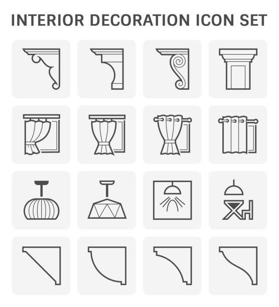 ikone der inneneinrichtung - gesims stock-grafiken, -clipart, -cartoons und -symbole