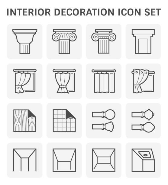 ilustrações, clipart, desenhos animados e ícones de ícone da decoração interior - molduras decorativas