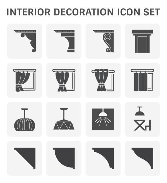 interior decoration icon - карниз stock illustrations