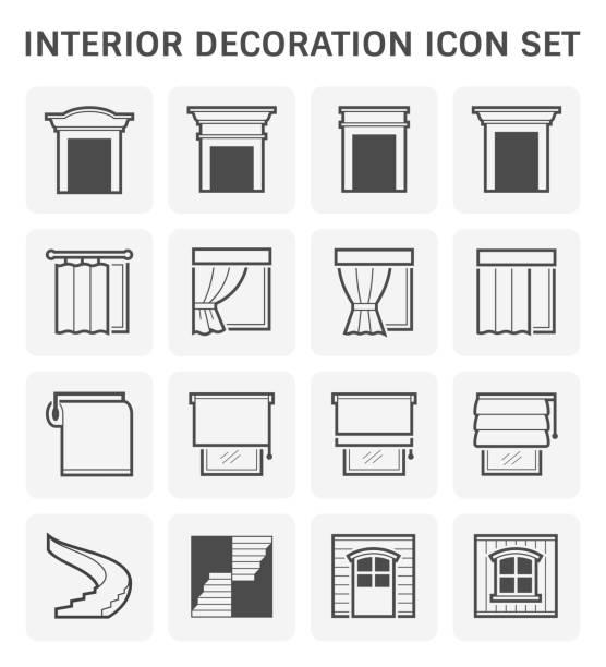 ikone der inneneinrichtung - stoffrollos stock-grafiken, -clipart, -cartoons und -symbole