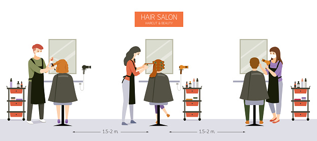 Interior Decoration of Hair Salon, Beauty salon, Barber Shop With Customer, Hairdresser, Furniture And Equipments