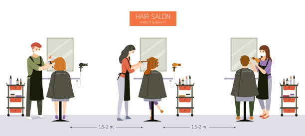 interior decoration of hair salon, beauty salon, barber shop with customer, hairdresser, furniture and equipments - hairdresser stock illustrations