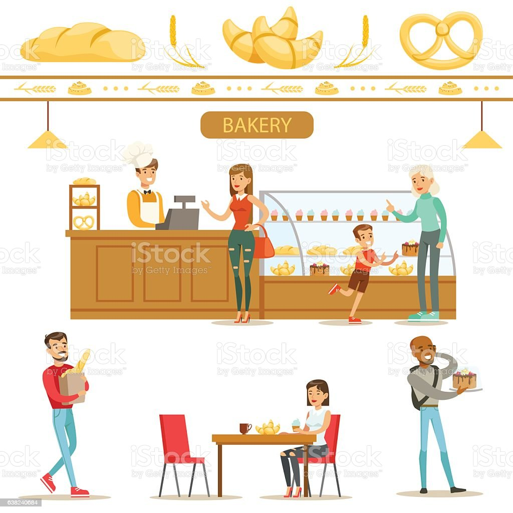 Interior Design And Happy Clients Of A Bakery Set Illustrations