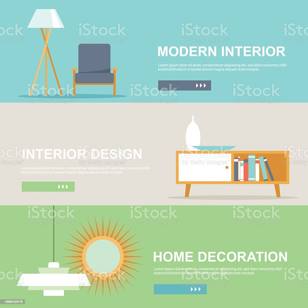 Interior Design And Home Decoration Banner Set Stock Vector Art