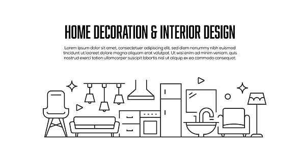 Interior Design and Home Decoration Related Modern Line Style Banner Design